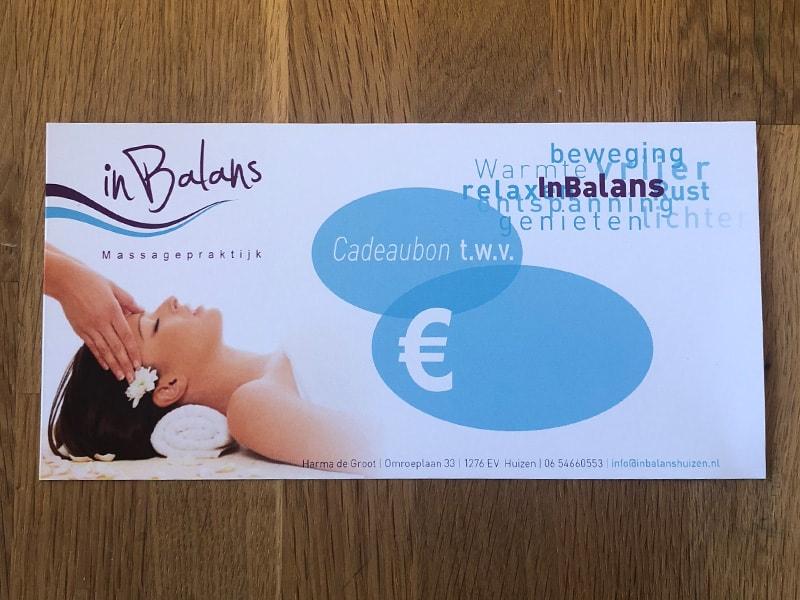Massage cadeaubon, In Balans Huizen, Harma